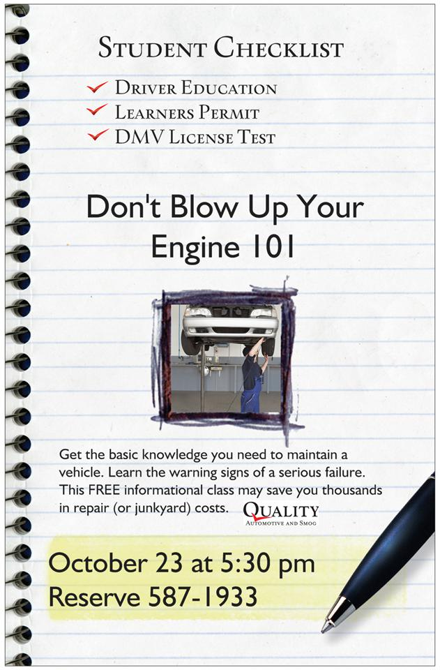 Don't Blow Up Your Engine 101 - October 23rd 5:30 Free